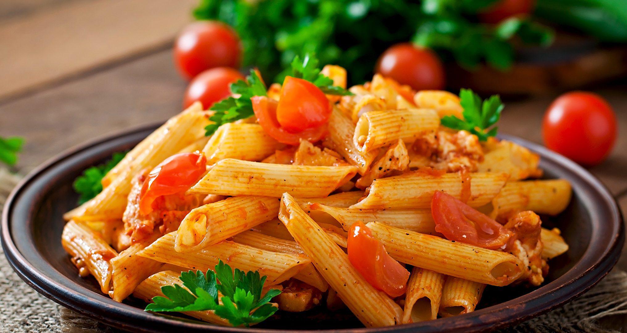 Plated grape tomato pasta